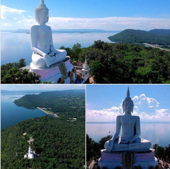 Aerial view white buddha at wat phra bat phu pan kham temple in khon kaen province
